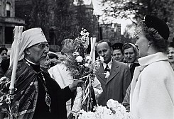 Parishioners greeting Metropolitan John during a parish visitation. Undated, likely 1950s.